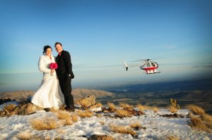 Wedding with helicopter