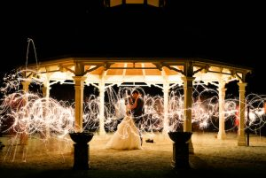 Wedding night time photo with sparklers