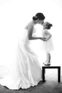 Bride and daughter love Black and White