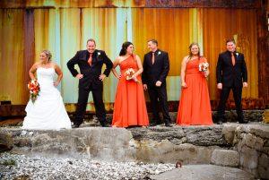 rusty background to wedding photos