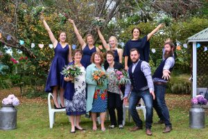 2 brides celebrate with family