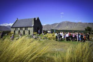 guests outside the Tekapo chapel