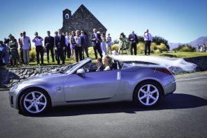 wedding cars outside the Tekapo chapel