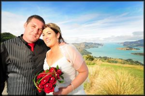 Wedding looking out to Lyttleton