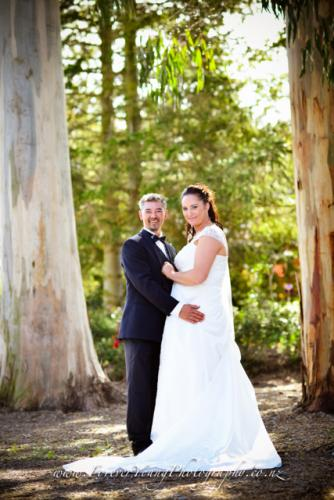 wedding by trees